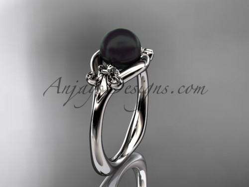 Platinum Fleur de Lis, Round Tahitian Black Cultured Pearl engagement ring VBP10022