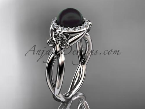 14kt white gold diamond Fleur de Lis, Round Tahitian Black Cultured Pearl, halo engagement ring VBP10023