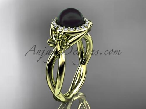 14kt yellow gold diamond Fleur de Lis, Round Tahitian Black Cultured Pearl, halo engagement ring VBP10023