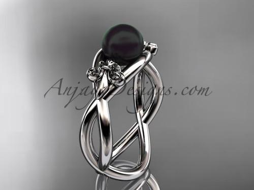 14kt white gold Fleur de Lis, Round Tahitian Black Cultured Pearl engagement ring VBP10024
