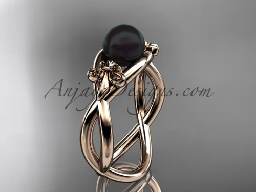 14kt rose gold Fleur de Lis, Round Tahitian Black Cultured Pearl engagement ring VBP10024