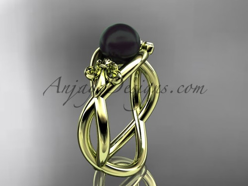 14kt yellow gold Fleur de Lis, Round Tahitian Black Cultured Pearl engagement ring VBP10024