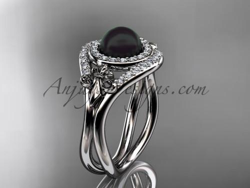 14kt white gold diamond Fleur de Lis, Round Tahitian Black Cultured Pearl engagement ring VBP10025