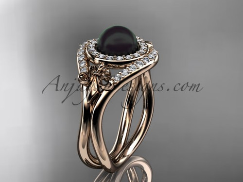 14kt rose  gold diamond Fleur de Lis, Round Tahitian Black Cultured Pearl engagement ring VBP10025