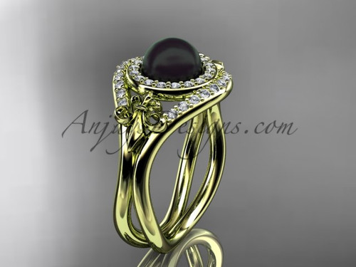 14kt yellow gold diamond Fleur de Lis, Round Tahitian Black Cultured Pearl engagement ring VBP10025