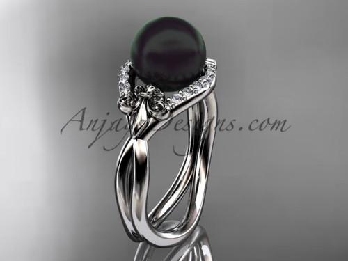 14kt white gold diamond Fleur de Lis, Round Tahitian Black Cultured Pearl engagement ring VBP10026