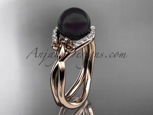 14kt rose gold diamond Fleur de Lis, Round Tahitian Black Cultured Pearl engagement ring VBP10026