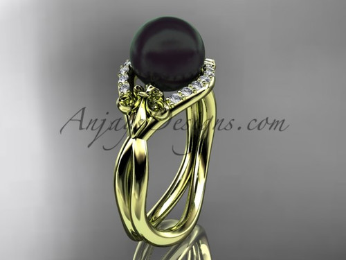 14kt yellow gold diamond Fleur de Lis, Round Tahitian Black Cultured Pearl engagement ring VBP10026