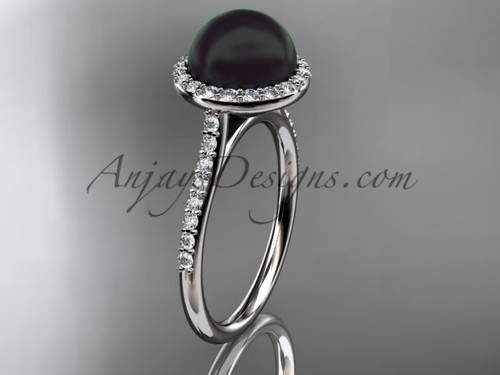 Unique 14kt white gold diamond, Round Tahitian Black Cultured Pearl, halo engagement ring VBP10030