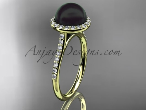 Unique 14kt yellow gold diamond, Round Tahitian Black Cultured Pearl, halo engagement ring VBP10030