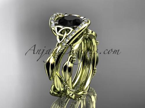 Celtic Black Diamond Yellow Gold Bridal Wedding Sets CT764S