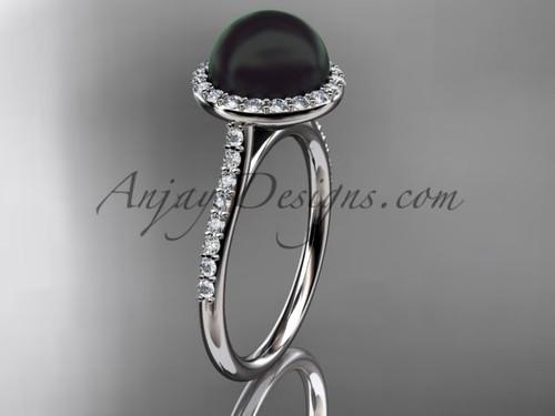 Unique Platinum diamond, Round Tahitian Black Cultured Pearl, halo engagement ring VBP10030