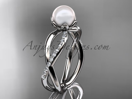 Platinum diamond, pearl engagement ring VP870