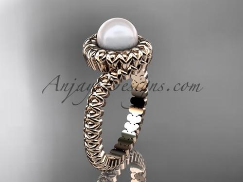 14kt rose gold pearl engagement ring VP1006