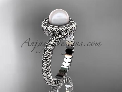 Platinum pearl engagement ring VP1006