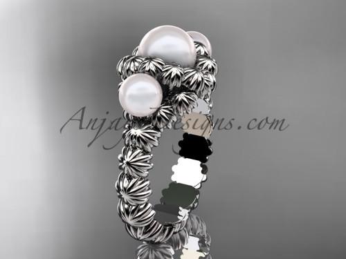 Platinum three stone pearl engagement ring VP1007