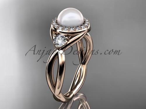 14kt rose gold diamond, pearl engagement ring VP8127