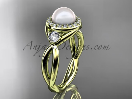 14kt yellow gold diamond, pearl engagement ring VP8127