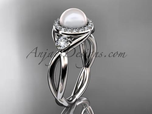 Platinum diamond, pearl engagement ring VP8127