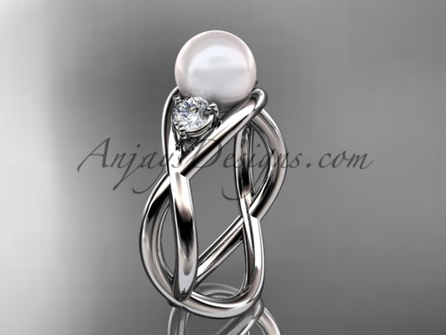 14kt white gold pearl engagement ring VP8156