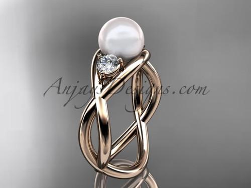 14kt rose gold pearl engagement ring VP8156