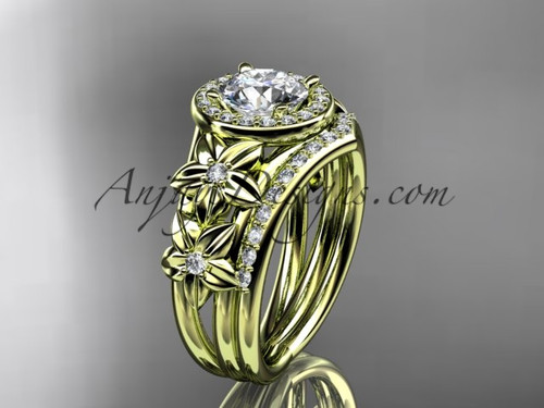 """14kt yellow gold diamond floral wedding ring, engagement set with a """"Forever One"""" Moissanite center stone ADLR131S"""
