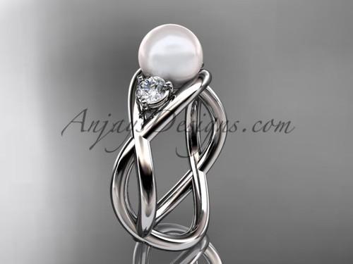 Platinum pearl engagement ring VP8156