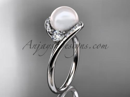 14kt white gold diamond, pearl engagement ring VP8166