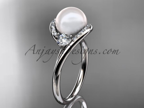 Platinum diamond, pearl engagement ring VP8166