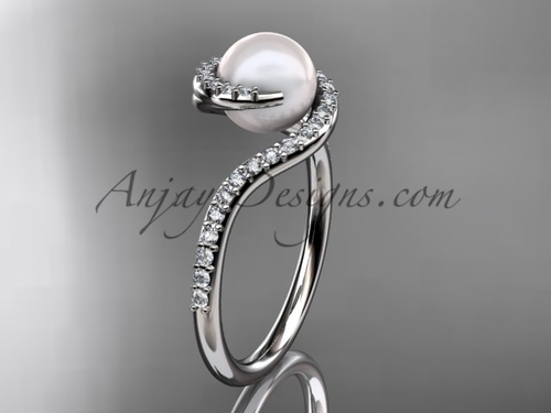 Pearl Proposal Ring, White Gold Diamond Marriage Ring VP8199