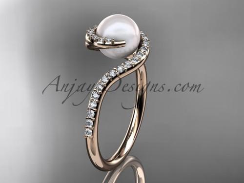 Pearl engagement ring, rose gold diamond bridal Ring VP8199