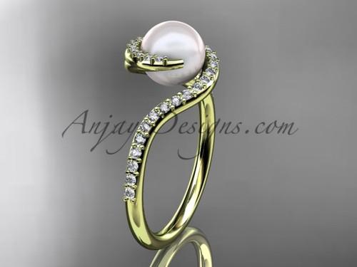 Pearl engagement ring, yellow gold diamond Ring VP8199