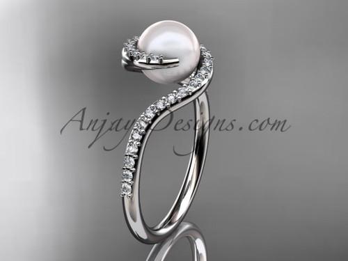 Diamond wedding ring, Platinum pearl engagement ring VP8199