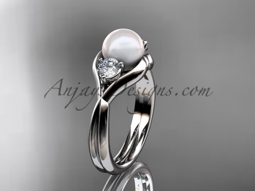 Unique 14kt white gold pearl engagement ring VP8220