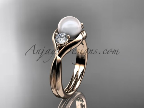 Unique 14kt rose gold pearl engagement ring VP8220