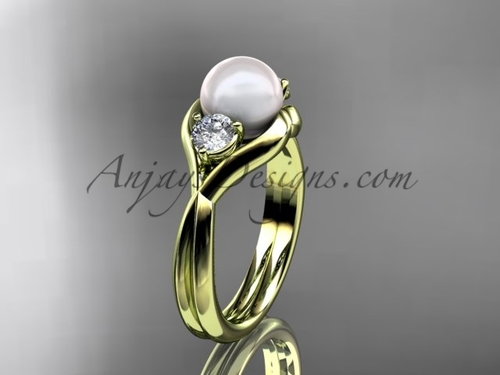 Unique 14kt yellow gold pearl engagement ring VP8220