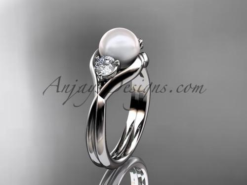 Unique Platinum pearl engagement ring VP8220