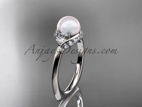 Unique Diamond and Pearl Engagement Ring VP8225
