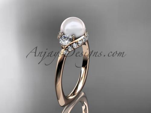 14kt rose gold unique diamond pearl engagement ring VP8225