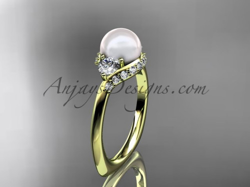 14kt yellow gold unique diamond pearl engagement ring VP8225