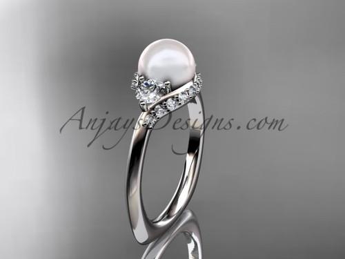 Platinum unique diamond pearl engagement ring VP8225