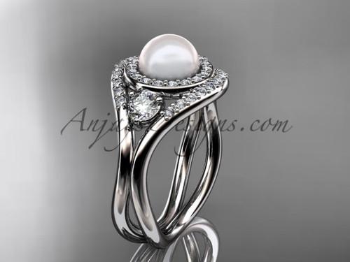 14kt white gold unique diamond Pearl engagement ring VP8245