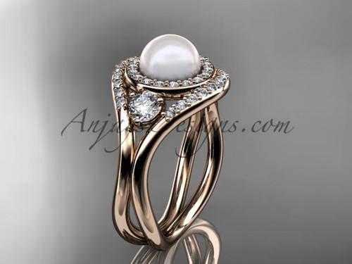 14kt rose gold unique diamond Pearl engagement ring VP8245