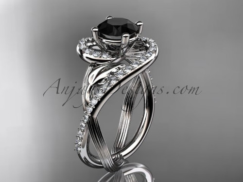 Unique 14kt white gold diamond leaf and vine wedding ring, engagement ring with a Black Diamond center stone ADLR222