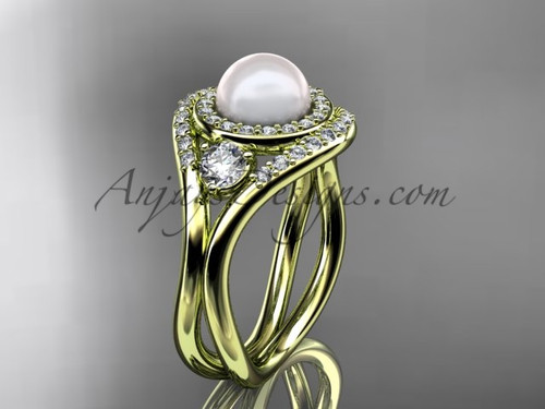 14kt yellow gold unique diamond Pearl engagement ring VP8245
