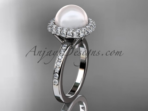 Diamond and Pearl Bridal Ring, White Gold Marriage Ring VP10015