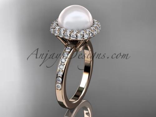 Unique 14kt rose gold diamond Pearl engagement ring VP10015