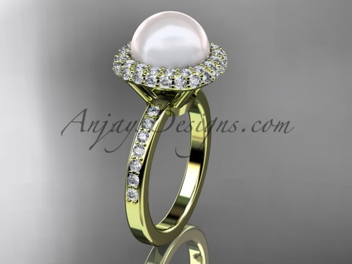 Unique 14kt yellow gold diamond Pearl engagement ring VP10015