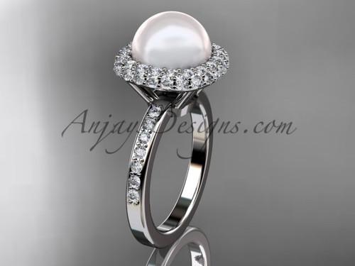 Unique Platinum diamond Pearl engagement ring VP10015