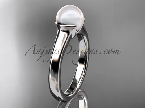 Unusual Engagement Rings White Gold Pearl Ring VP10016